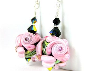 Pink Black Floral Dangle Earrings, Earrings with Roses Flowers Crystal & Sterling Silver, Botanical Earrings, Romantic Glass Earrings