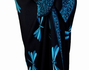 Dragonfly Sarong Pareo Batik Sarong - Womens Clothing Beach Sarong Wrap Skirt - Swimsuit Coverup - Black & Teal Dragonflies - Batik Pareo