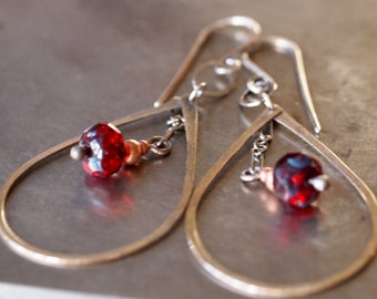 Sexy hammered yellow brass teardrop and red Czech glass beaded earrings