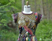 Reserved for Vikki. Patchwork boho empire-waist Dress. Up cycled clothing. Size Medium/Large. Ready to ship