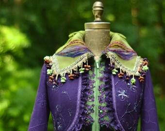 Sweater COAT woodland Fantasy patchwork up cycled boho fashion. SizeSmall. Ready to ship