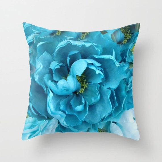 Shabby Chic Blue Pillows : Aqua Blue Flower Pillow Shabby Chic Decor Blue Aqua Throw