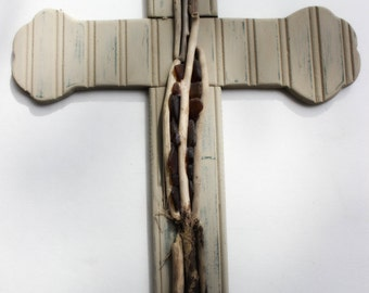 Coastal Wall Cross with Driftwood and Seaglass Accents , One of a Kind Nautical Home Decor