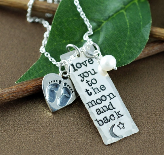 Love you to the Moon and back Necklace, Hand Stamped Necklace, Personalized Jewelry, Bar Necklace, Baby Feet Necklace, Mothers Day Necklace