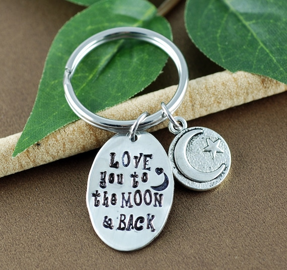 Love you to the Moon and Back Keychain | Moon and Back Gift | To the Moon Gift | Girlfriend Gift | Moon and Back Keychain | Gift for Mom