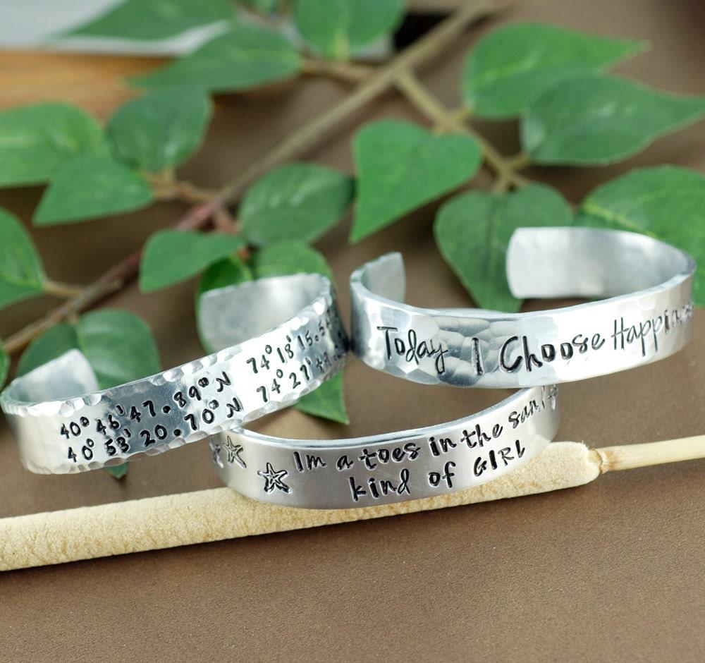 custom cuff bracelets longitude and latitude cuff