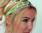 Cotton Headband Boho Head Wrap Hippie Headband Cage Goddess Headband Purple Lime Mix Festival Hair Wrap Handmade - or Choose Color