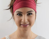 Wide Headband, Stretchy Cotton Jersey Headband Wine Red Women's Workout Yoga HeadBand Hair Wrap - Choose Your Color
