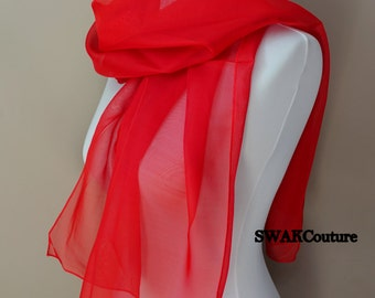 Chiffon Scarf Red Sheer Wrap Wedding Scarf Bridal Wrap Shawl Chiffon Stole Shawl Special Occasion Wedding Shawl - or Choose Color