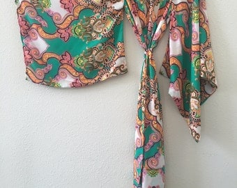Kimono-Mermaid Paisley Handmade Chiffon