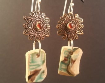 Antique Majolica Pottery Shard Earrings with Bronze Sun and Hessonite Garnet