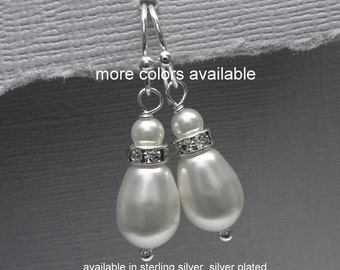 CUSTOM COLOR Bridesmaid Earrings, Bridesmaid Gift, Swarovski White Drop Pearl Earrings, Mother of the Bride Gift, Mother of the Groom Gift