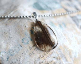 Brown and White Feather Resin Pendan Real Feather Resin Jewelry