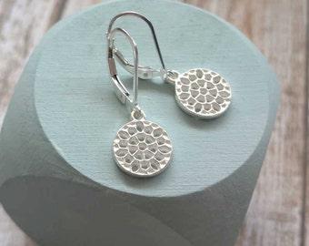 Small Round Silver Earrings, Sterling Dangle Earrings, Minimalist Jewelry, Drop on Leverback Lever back Matte Satin Brushed Filigree