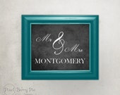 Custom MR & MRS Chalkboard Art Print // Personalized Wedding Gift, 8x10 Wall Art // Ready to Ship