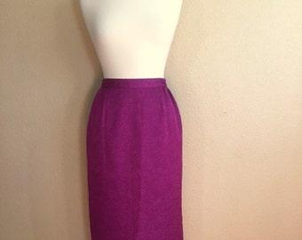 Vintage PURPLE FLORAL Long Pencil Skirt / Nina Massini / Womens Small Medium