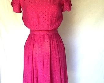 Vintage Fuchsia PINK Chevron Dress / Maggy London / Womens Size Small Medium