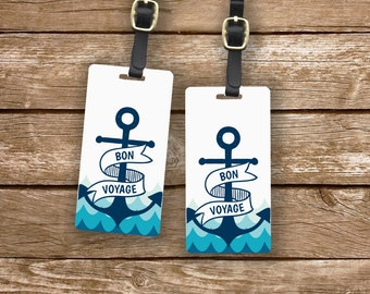 Luggage Tag Set Bon Voyage Anchor Nautical Cruise  2 Tag Set Personalized Custom Address , Name Quote on the Back  Choice of Strap