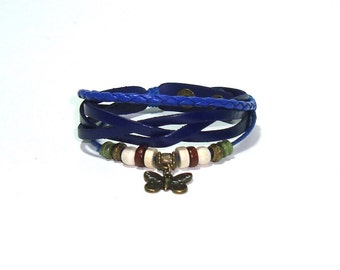 Bue Leather Cuff  Bracelet - Bronze Butterfly Charm  - Leather Cuff Bracelet - Adjustable Leather Bracelet