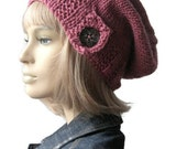 Pink Hat, Wood Button Tab Beanie, Hand Knit Hat, Pink Slouchy Hat, Rose Slouchy Hat, Winter Hat, Pink Slouchy Beanie,Fall Accessories