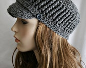Womens Cadet Hat - Crochet Hat for Women or Teens - Charcoal Gray Perfect Fall and Winter Accessory Brim Beanie, Brim Cap