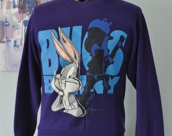 Vintage Bugs Bunny Sweatshirt Purple 1994 90s Humor Comic Cartoon Ladies Mens SMALL MEDIUM