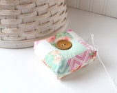 Pink and Mint Green Square Pincushion Chevron Pin Keep Scrappy Pin Cushion