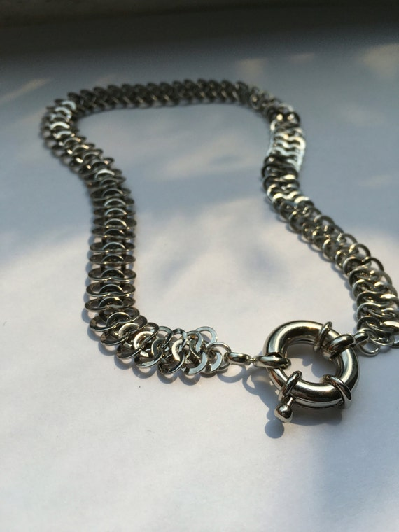 Silver chainmaille chain choker