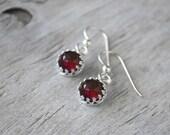 Garnet Earrings Sterling Silver - Garnet Drop Earrings  -  Garnet Dangle Earrings with Sterling French Ear Wires - January Birthstone