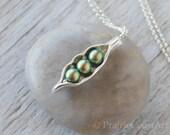 Three Peas in a Pod Necklace - Silver Pea Pod Mother's Necklace - Mom's iridescent Green Pearl Pea Pod Pendant - Three Peas Push Gift