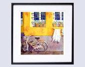 42 Old Window Art Watercolor Print Watercolour Print, Watercolor window flower box, Yellow print bike wall art, Window wall art
