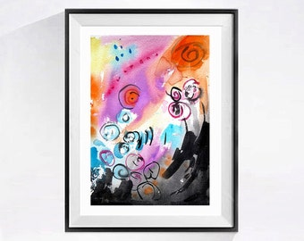 Original Abstract Watercolor Painting Fine Art Modern Pop art with Bright colors Painting pink artwork /