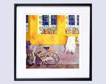 Old Window Art Watercolor Print Watercolour Print Watercolor window flower box Yellow print bike wall art Window wall art A