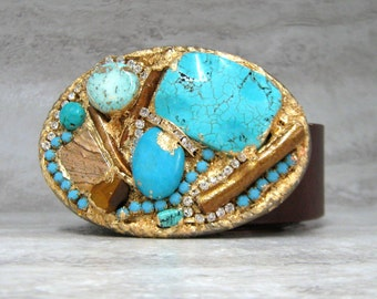 Turquoise & Gold Belt Buckle with Semi Precious Gemstones - Gold  Gilded One of a Kind  Romantic Buckle by Sharona Nissan (4122)