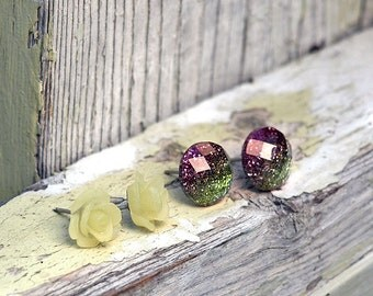 2 Pair Set Glitter Stud Earrings, Frosty Yellow Resin Rose Earrings, Titanium Posts - Summer Blooms Collection