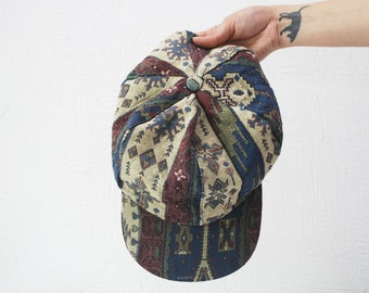 80s slouch tapestry hat. patterned cap hat