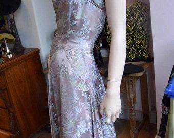 "1940's Floral Damask Halter Gown 36"" bust 30"" waist"
