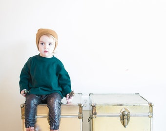 Oversized Long Sleeved Sweatshirt in Dark Green Knit for Babies and Boys