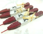 """Natural Sealing  Wax  4 sticks """"ANTIQUE RED"""" seal wax for stamps with wick, non-toxic, plastic-free ECO, gift-wrapped"""
