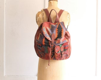 vintage kilim leather backpack | woven carpet bag