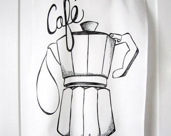 Black & White Kitchen Towel. Cafe au Lait Illustration. Tea Towel. Coffee. French. Dish Towel. Kitchen Decor. Hand Lettering.
