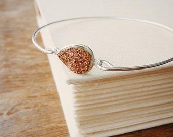 Druzy Bracelet. Copper Druzy Silver Charm Bangle. Stackable Silver Bracelet . Stacking Copper Druzy Bangle. Copper Droozy Drusy Gem Bangle