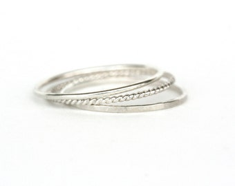 Set of 3 - Skinny Stack Rings - Sterling Silver - Light weight ring - simple band- 3 texture set - 3 different silver rings, twist ring,