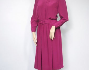 80's Vintage Dress Sleek Shirtwaist High Collar Belt Waisted Plum Dress Liz Claiborne Secretary Party Day Dress Pleated Size Small Size 6