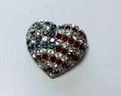 Sterling Silver 925 Rhinestone Heart Flag Pin Brooch
