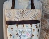 Tote, Amazing Grace Bible Bag, Handmade Tote, Fabric Handbag, Christian Tote, Brown and Tan Fabric Tote, Christian Expressions,Jesus Bag