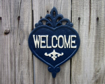 Welcome Sign, Cast Iron, Painted, Navy Blue, Ivory, Welcome Plaque, Home Welcome Sign, Ornate Welcome Plaque, Indoor, Outdoor, Welcome