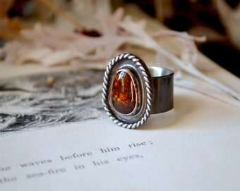 Fire Rise Ring No. 9 with Mexican Fire Agate size 7.75-8