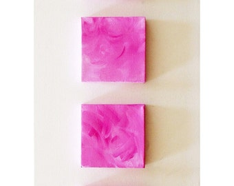 Pink Wall Art - Pink Wall Decor - Pink Canvas Art- Pink Mini Canvases - Set Of Four - Breast Cancer Awareness