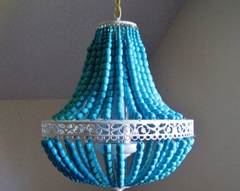Empire Aqua Cottage Wood Beaded Chandelier MADE TO ORDER